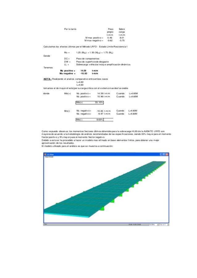 Por lo tanto Peso propio Sobre carga t-m/m t-m/m M max positiv o = 0.46 8.01 M max negativ o = -0.62 -5.75 Calculamos los ...