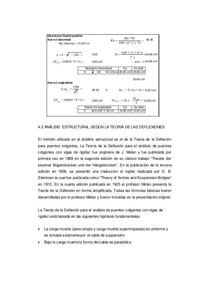 Diseño por flexiónpositivo Acero transversal Mu (máximo) = 14.00 t-m Kw  Mu *105 0.85 * * f 'c *b  65.36 a  d  d 2 ...