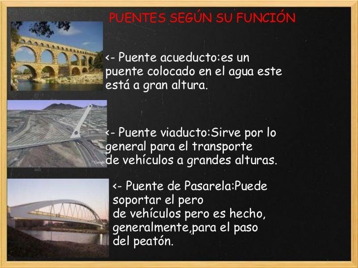 PUENTES SEGÚN SU FUNCIÓN <- Puente acueducto:es un puente colocado en el agua este está a gran altura. <- Puente viaducto:...