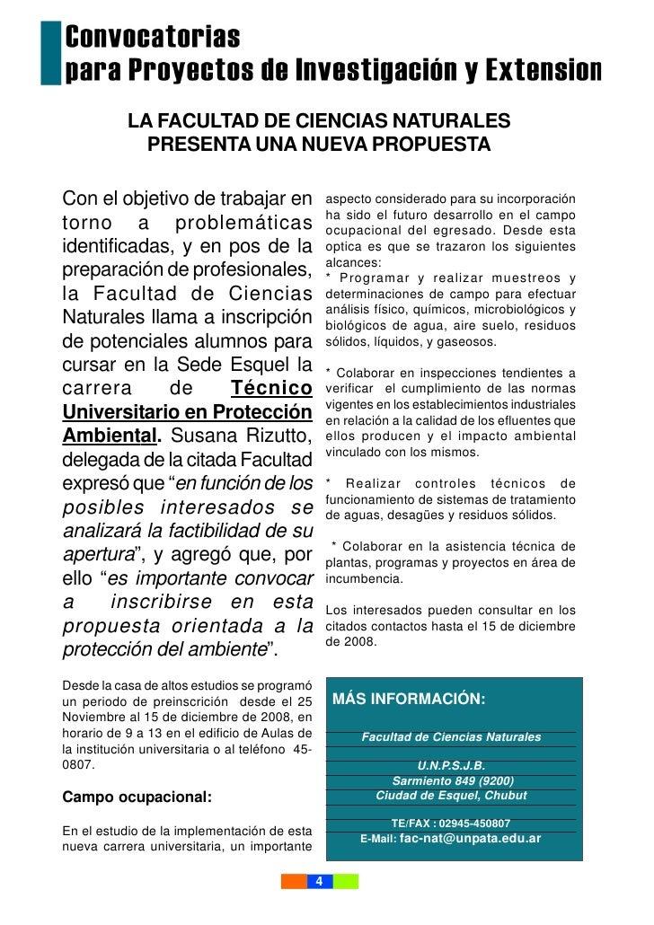 LA FACULTAD DE CIENCIAS NATURALES              PRESENTA UNA NUEVA PROPUESTA  Con el objetivo de trabajar en               ...