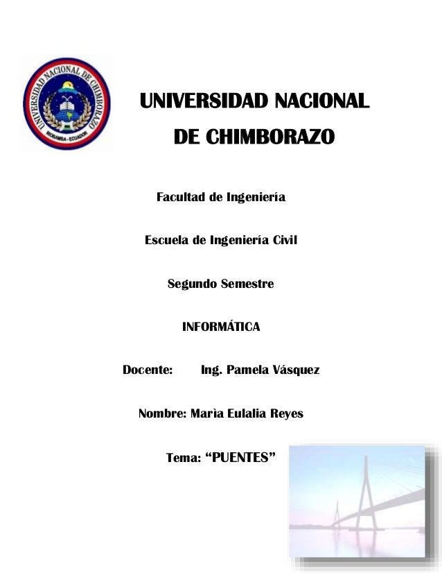 UNIVERSIDAD NACIONAL DE CHIMBORAZO Facultad de Ingeniería Escuela de Ingeniería Civil Segundo Semestre INFORMÁTICA Docente...