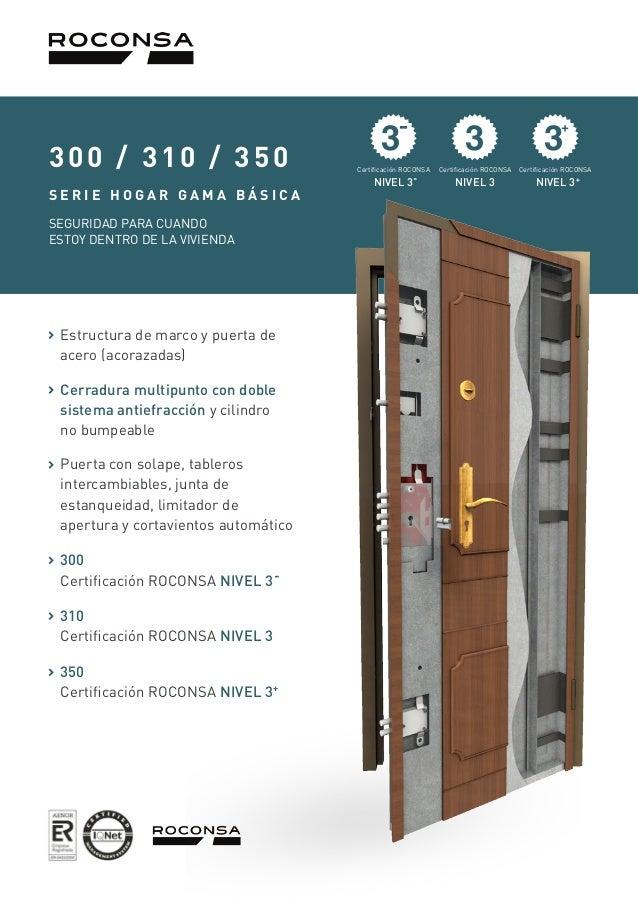 Información de Puertas Acorazadas 300-310-350, Roconsa