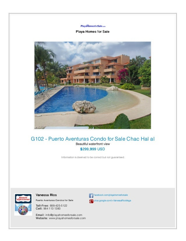 Playa Homes for Sale G102 - Puerto Aventuras Condo for Sale Chac Hal al Beautiful waterfront view $299,999 USD Information...