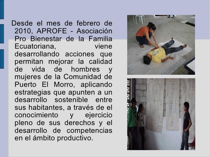 Trabajo de desarrollo y fortalecimiento comunitario en puerto el morro - Trabajo en el puerto ...
