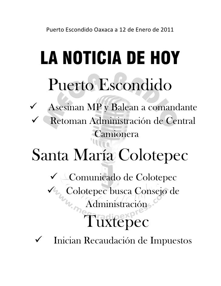 Puerto Escondido Oaxaca a 12 de Enero de 2011  LA NOTICIA DE HOY     Puerto Escondido Asesinan MP y Balean a comandante ...