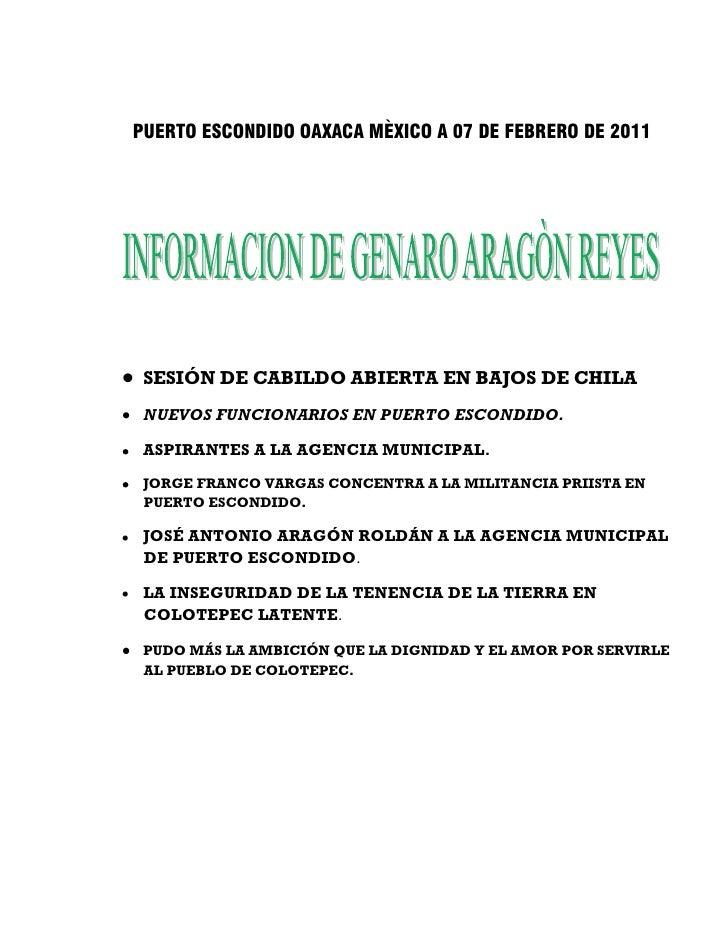 PUERTO ESCONDIDO OAXACA MÈXICO A 07 DE FEBRERO DE 2011 SESIÓN DE CABILDO ABIERTA EN BAJOS DE CHILA NUEVOS FUNCIONARIOS EN ...