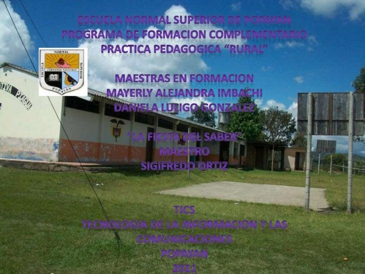 PRACTICA PEDAGOGICA IE. PIAGUA sede PUERTO RICO