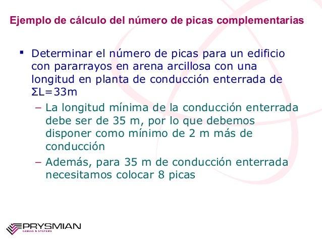Ejemplo de cálculo del número de picas complementarias Determinar el número de picas para un edificiocon pararrayos en ar...