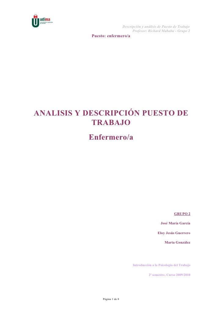 Descripción y análisis de Puesto de Trabajo                                       Profesor: Richard Mababu - Grupo 2      ...