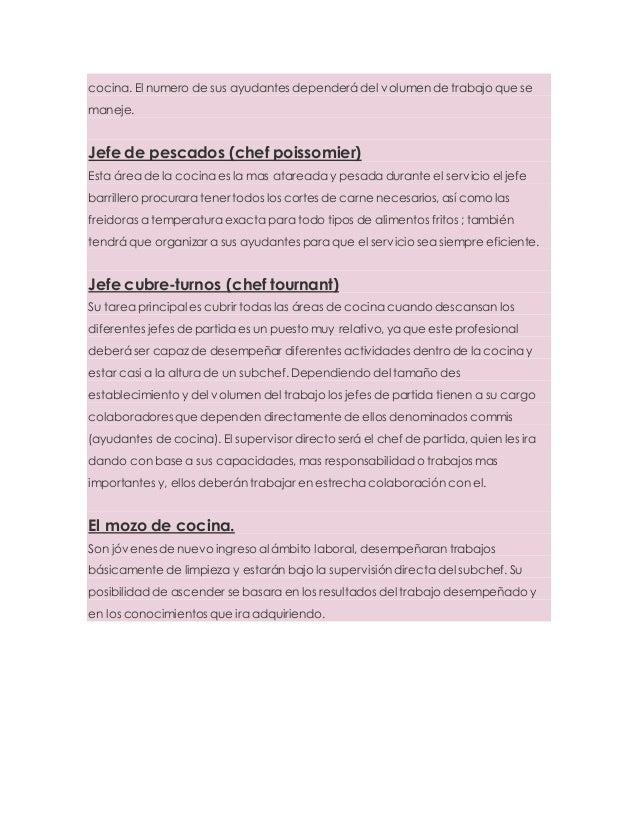 Puestos y funciones del personal de cocina - Trabajo de jefe de cocina ...