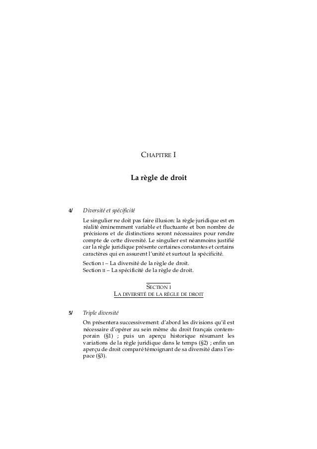 CHAPITRE I La règle de droit Diversité et spécificité Le singulier ne doit pas faire illusion: la règle juridique est en r...