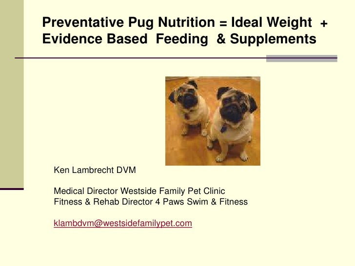 Preventative Pug Nutrition = Ideal Weight  + Evidence Based  Feeding  & Supplements<br />Ken Lambrecht DVM<br />Medical Di...