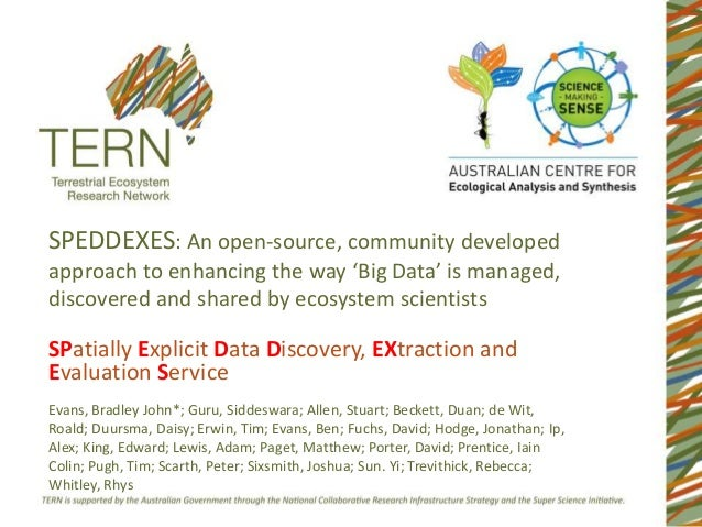 SPEDDEXES: An open-source, community developed approach to enhancing the way 'Big Data' is managed, discovered and shared ...