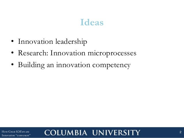 Ideas • Innovation leadership • Research: Innovation microprocesses • Building an innovation competency How Great KM'ers a...