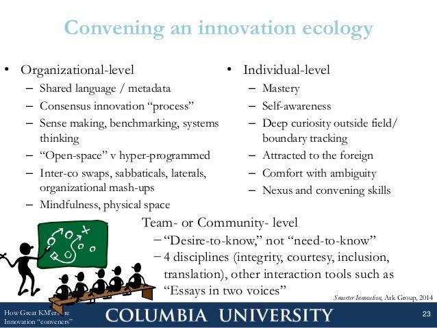 "• Organizational-level – Shared language / metadata – Consensus innovation ""process"" – Sense making, benchmarking, systems..."
