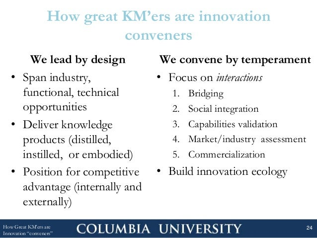 How great KM'ers are innovation conveners We lead by design • Span industry, functional, technical opportunities • Deliver...