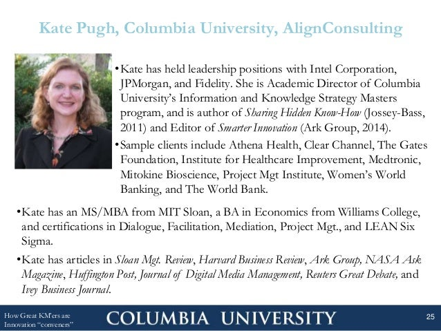 Kate Pugh, Columbia University, AlignConsulting •Kate has held leadership positions with Intel Corporation, JPMorgan, and ...