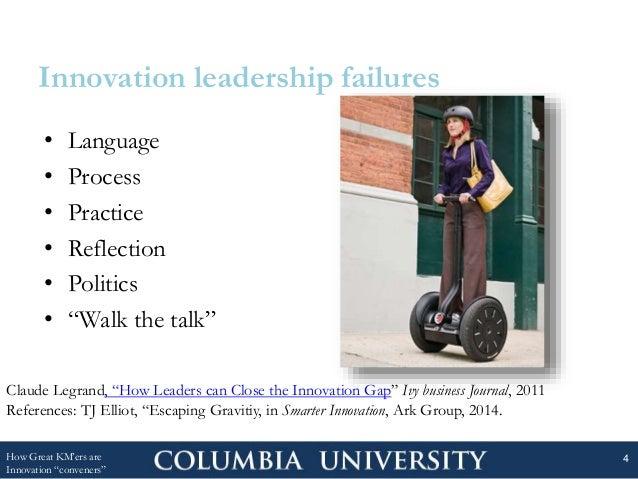"Innovation leadership failures • Language • Process • Practice • Reflection • Politics • ""Walk the talk"" How Great KM'ers ..."