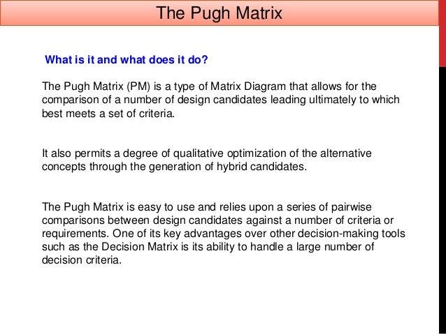 Pugh matrix concept evaluation in Design