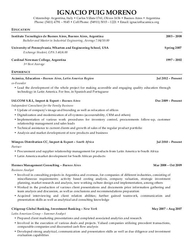 SlideShare  Investment Banking Analyst Resume