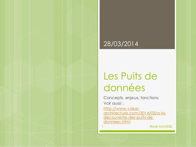 Les Puits de données Concepts, enjeux, fonctions Voir aussi : http://www.value- architecture.com/2014/03/a-la- decouverte-...