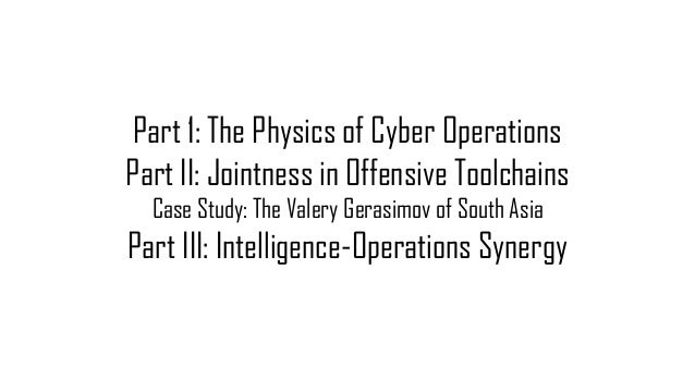 Part 1: The Physics of Cyber Operations Part II: Jointness in Offensive Toolchains Case Study: The Valery Gerasimov of Sou...