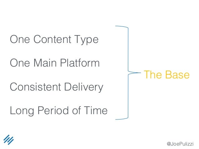 @JoePulizzi One Content Type One Main Platform Consistent Delivery Long Period of Time The Base
