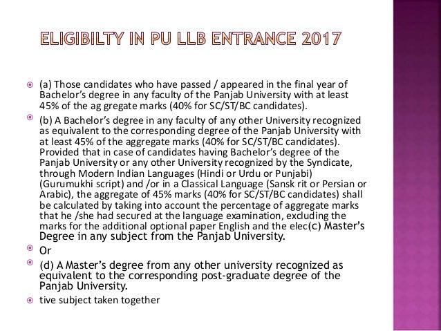Pu llb entrance exam coaching in chandigarh Slide 2