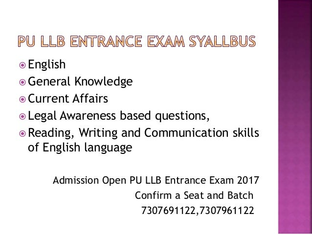 Pu llb entrance exam coaching in chandigarh Slide 3