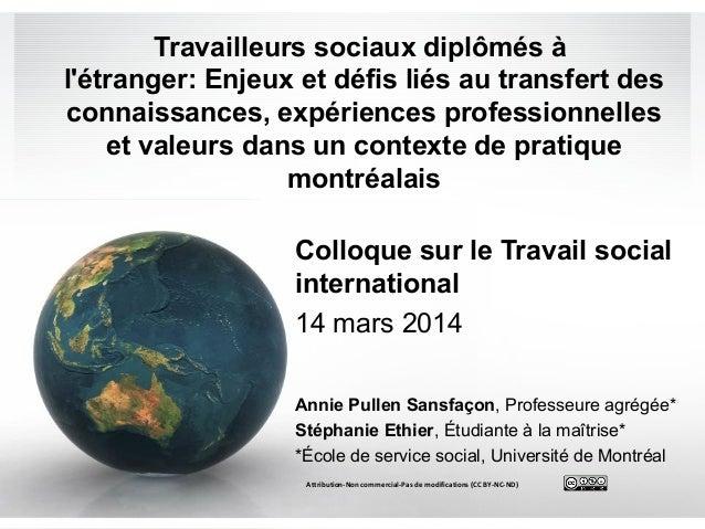Travailleurs sociaux diplômés à l'étranger: Enjeux et défis liés au transfert des connaissances, expériences professionnel...