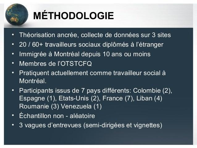 MÉTHODOLOGIE • Théorisation ancrée, collecte de données sur 3 sites • 20 / 60+ travailleurs sociaux diplômés à l'étranger ...