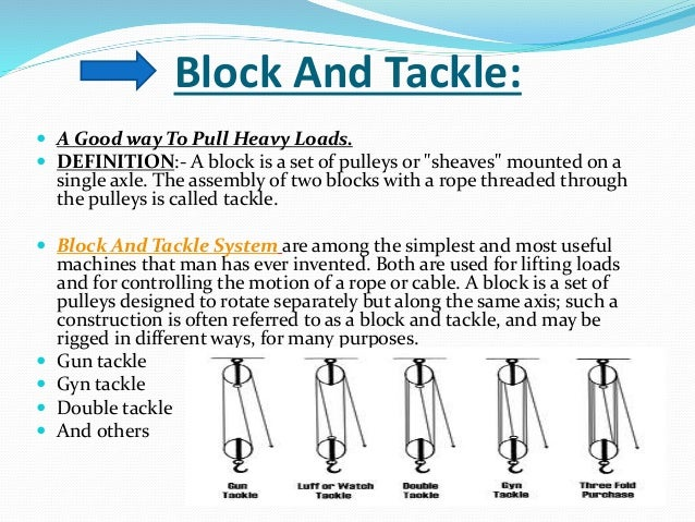 Examples Of Block And Tackle Pulleys : Pulley design