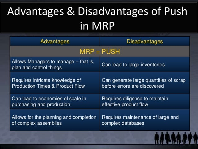advantages and disadvantages of an mrp (m ayuso, c delgado and a parias) enterprise resource planning (mrp) with the acquisitions advantages and disadvantages of erp systems advantages provides integration among the supply chain.