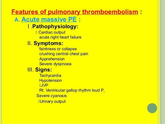 9 Features Of Pulmonary Thromboembolism A Acute Massive PE