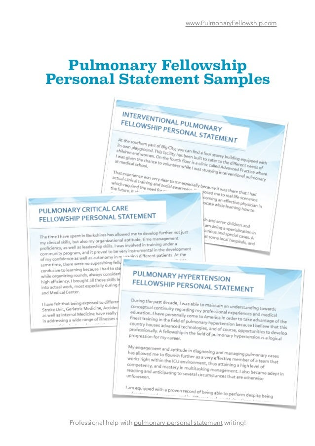 Pulmonary Fellowship Personal Statement Samples
