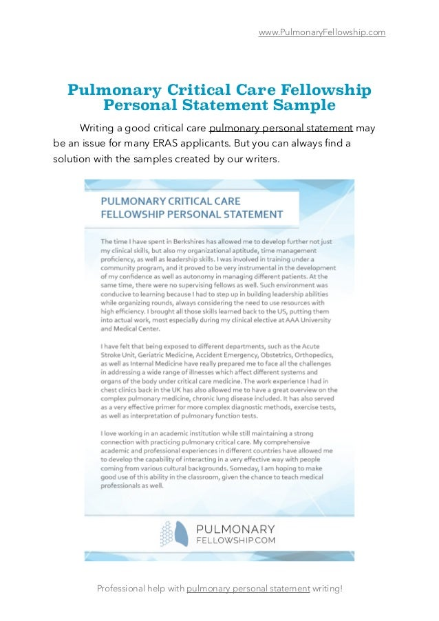 Personal Statement advice for Fellowship