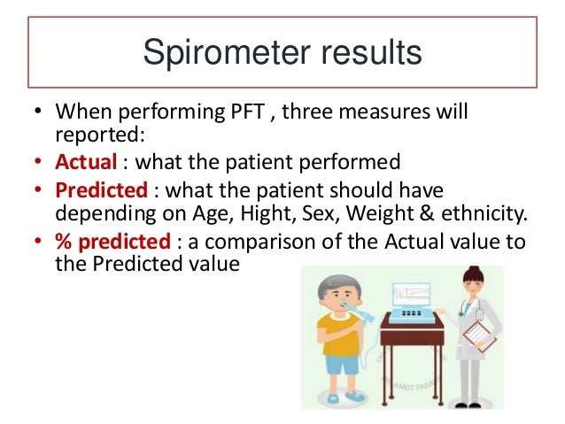 Normal Spirometry • In general, parameters above 80% of predicted (and an FEV1/FVC ratio >80%) are considered normal resul...