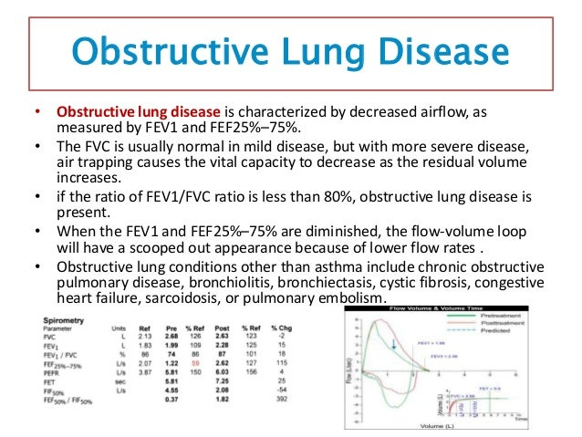 Bronchodilator Response • In general, an increase in FEV1 of greater than 12% (for low lung volumes, minimum change of 200...