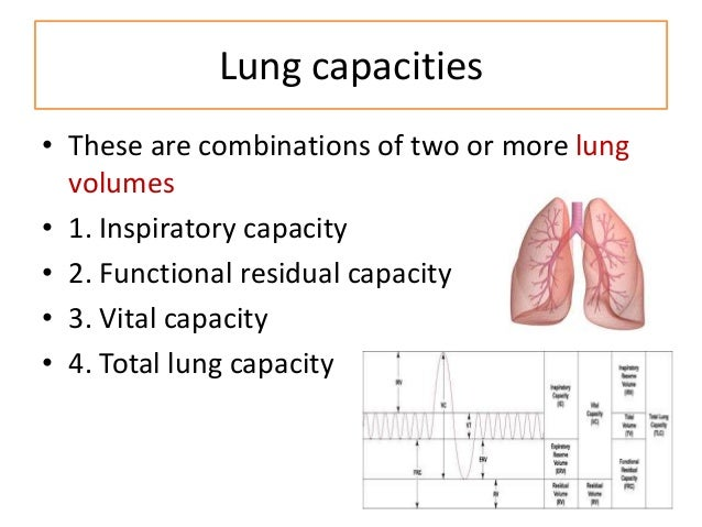 Inspiratory capacity Max volume of air that can be inspired after normal tidal expiration IC = TV+IRV Functional residual ...