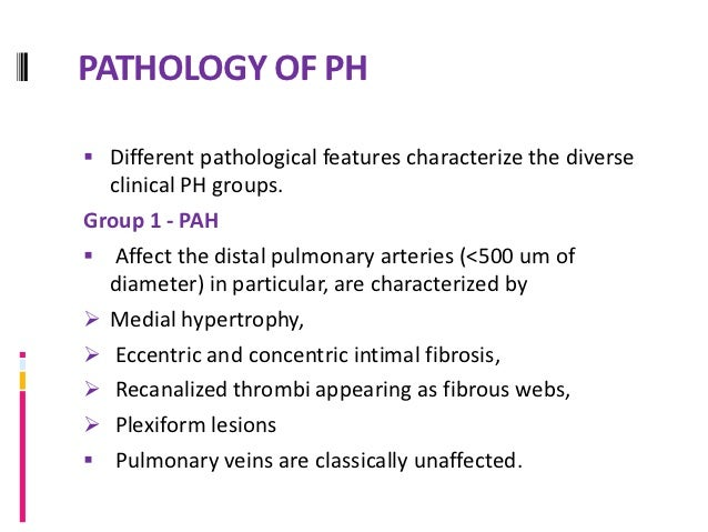 PATHOLOGY OF PHGroup 1' : Includes mainly PVOD Which involves septal veins and pre-septal venules  with occlusive fibroti...