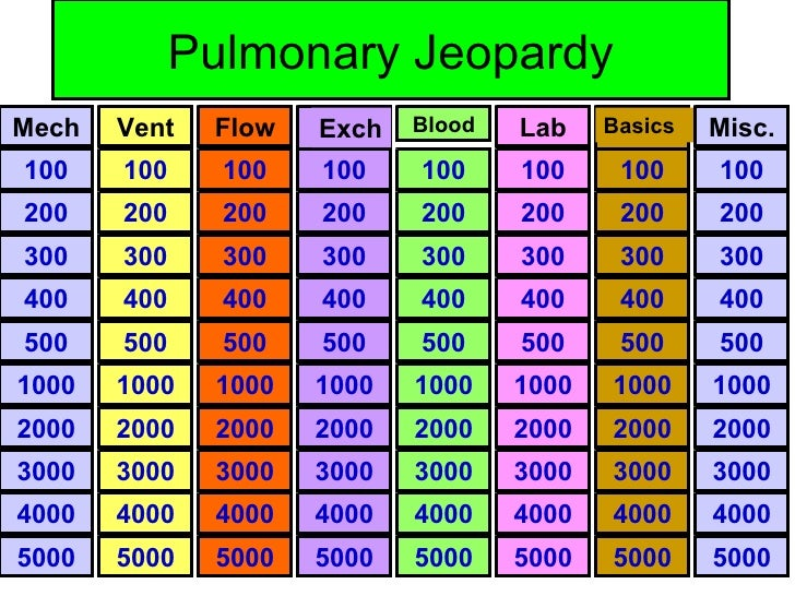 Pulmonary Jeopardy 100 200 300 5000 4000 3000 2000 1000 500 400 100 200 300 5000 4000 3000 2000 1000 500 400 100 200 300 5...