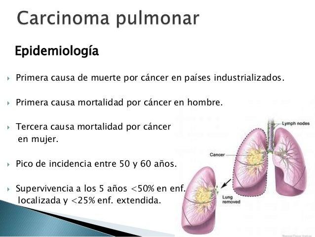 Epidemiología  Primera causa de muerte por cáncer en países industrializados.  Primera causa mortalidad por cáncer en ho...