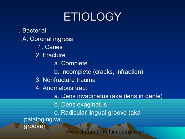 pulpal diseases The most frequent endodontic diagnosis of pulpal pain were symptomatic pulpitis   inclusion criterion was pulpal or periapical diseases that occurred before.