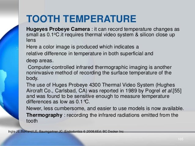 TOOTH TEMPERATURE Hugeyes Probeye Camera : it can record temperature changes as small as 0.1oC.it requires thermal video s...