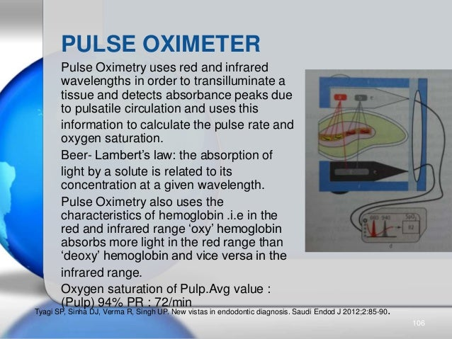 Pulse Oximetry uses red and infrared wavelengths in order to transilluminate a tissue and detects absorbance peaks due to ...