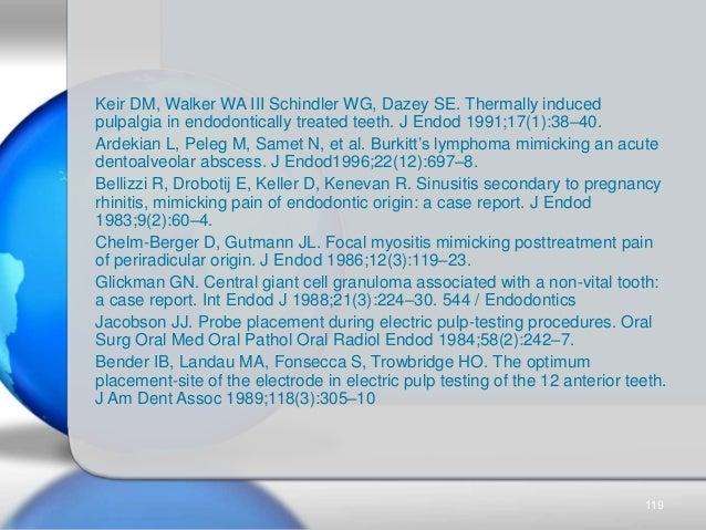 Keir DM, Walker WA III Schindler WG, Dazey SE. Thermally induced pulpalgia in endodontically treated teeth. J Endod 1991;1...