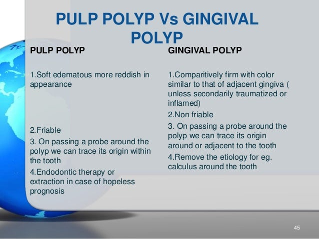 PULP POLYP Vs GINGIVAL POLYP PULP POLYP 1.Soft edematous more reddish in appearance 2.Friable 3. On passing a probe around...