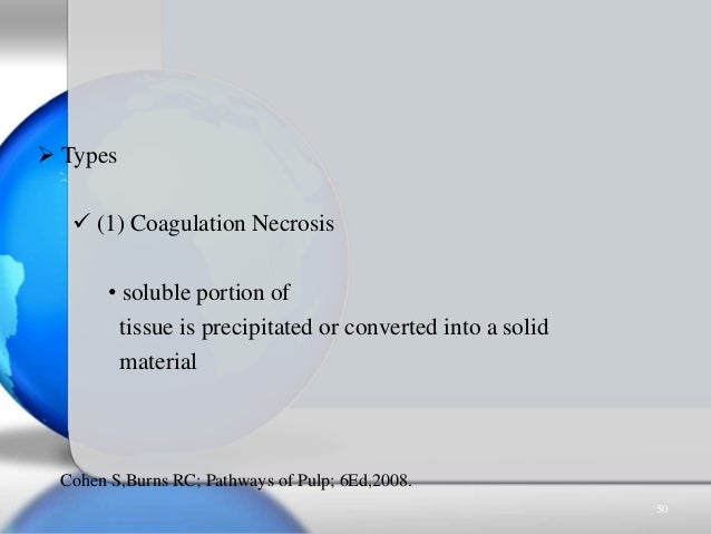  Types  (1) Coagulation Necrosis • soluble portion of tissue is precipitated or converted into a solid material Cohen S,...