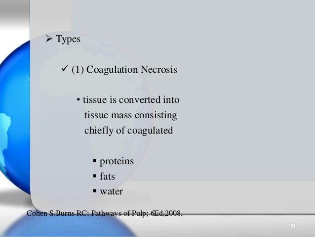  Types  (1) Coagulation Necrosis • tissue is converted into tissue mass consisting chiefly of coagulated  proteins  fa...