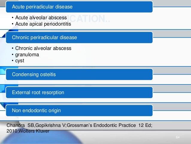CLASSIFICATION..• Acute alveolar abscess • Acute apical periodontitis Acute periradicular disease • Chronic alveolar absce...